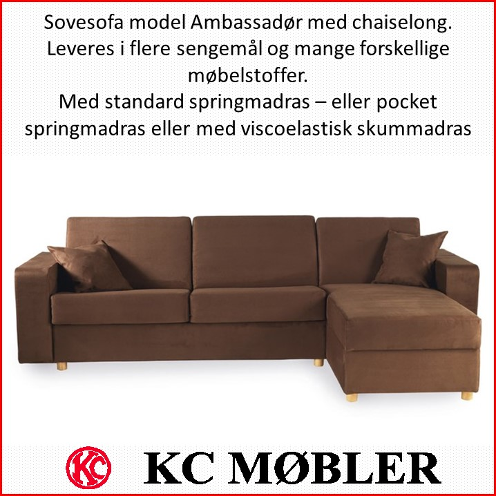 sovesofa med chaiselong - model Ambassadør