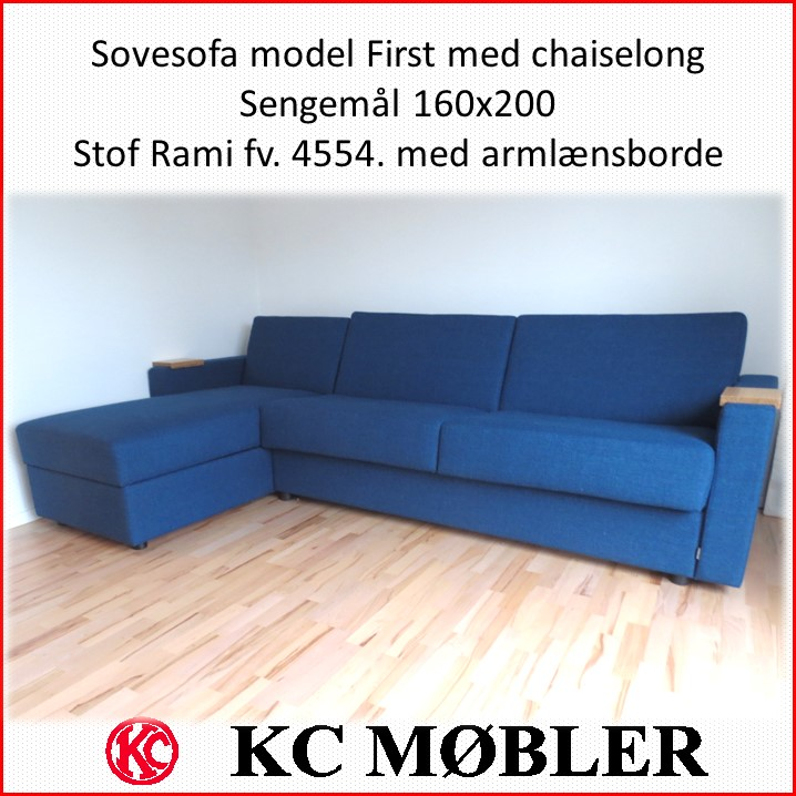 sovesofa model First med chaiselong - sengemål 160x200